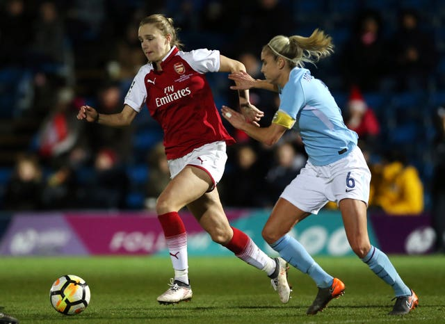 Arsenal's Vivianne Miedema, left, and Manchester City's Steph Houghton are up for the women's award