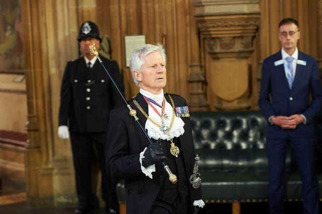 Former Gentleman Usher of the Black Rod David Leakey during the State Opening of Parliament (PA)
