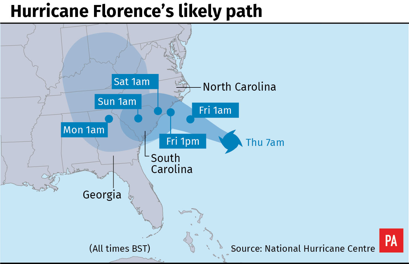 Flights cancelled in the US Southeast as Hurricane Florence approaches