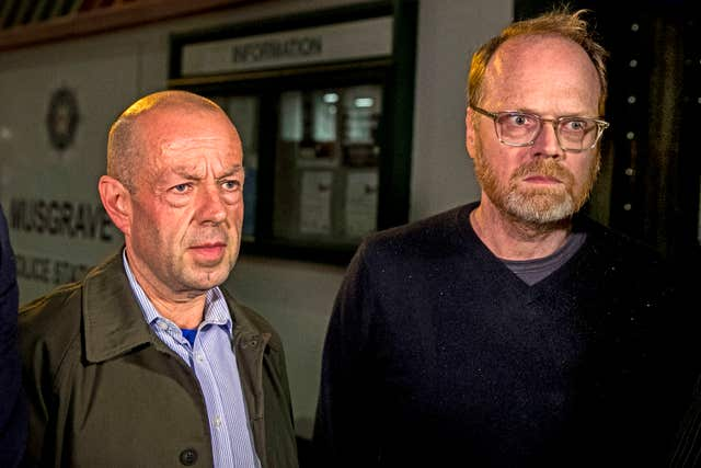 Barry McCaffrey (left) and Trevor Birney after they were arrested