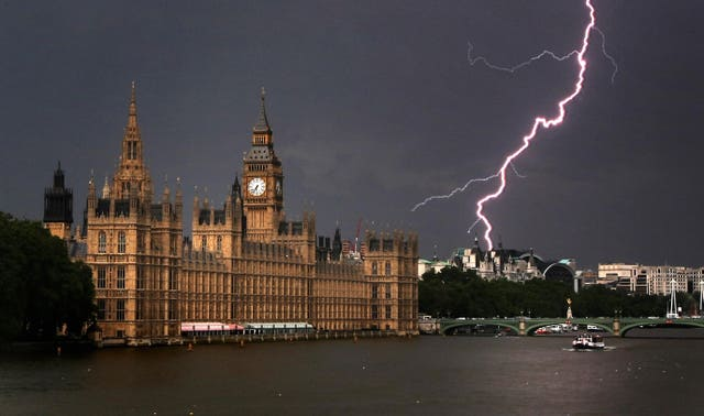 Lightning above the Houses of Parliament