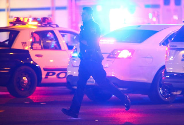 Police on the scene during the shooting at the Route 51 Harvest Festival (Chase Stevens/AP)