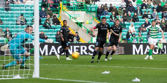 James Forrest's deflected strike in extra-time helped Celtic get past Dunfermline in the Betfred Cup
