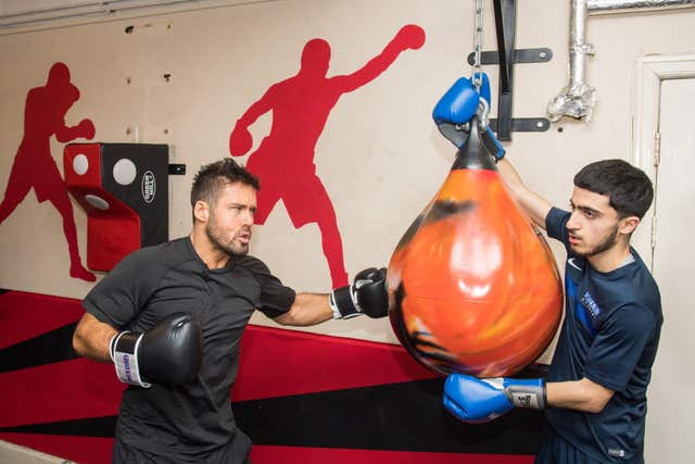 Spencer Matthews during a visit to the Boxing Academy (Dominic Lipinski/PA)