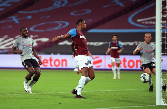 Sebastien Haller scores West Ham's first goal of the game against Charlton