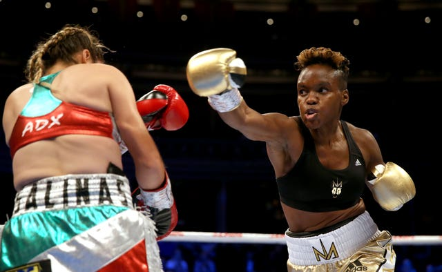 Nicola Adams (right) in action against Maria Salinas