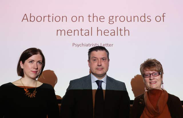 Prof Patricia Casey (right), Dr Anne Doherty and Dr Martin Mahon at a press conference where consultant psychiatrists outlined abortion concerns (Brian Lawless/PA)