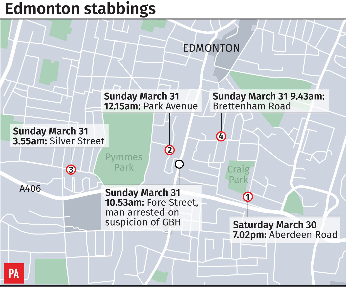 Police issue public warning following four 'random' stabbings in London