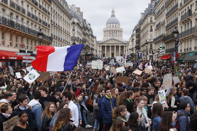 High school students demonstrate near the Pantheon in Paris