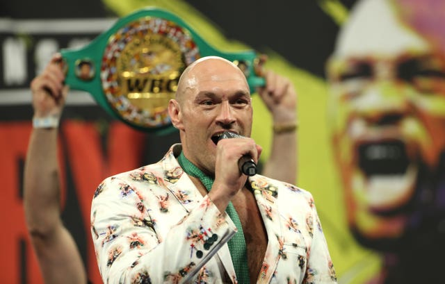Tyson Fury during the post-fight press conference