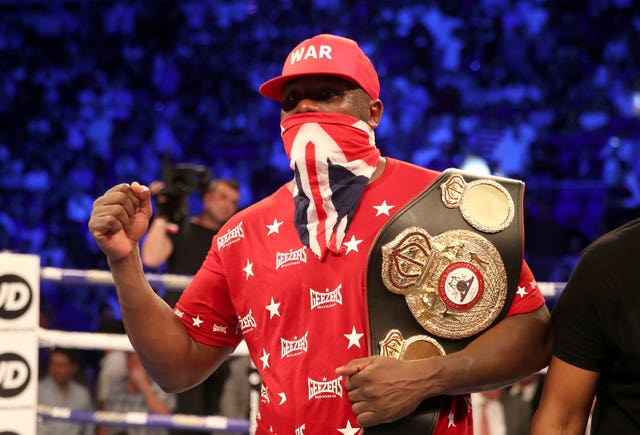 Dereck Chisora celebrates after victory at The O2. (PA)