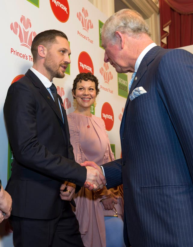 Charles meets celebrity ambassadors Tom Hardy and Helen McCrory at the Prince's Trust Awards