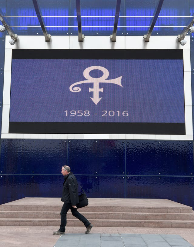 The O2 in London displayed a tribute to Prince (PA)