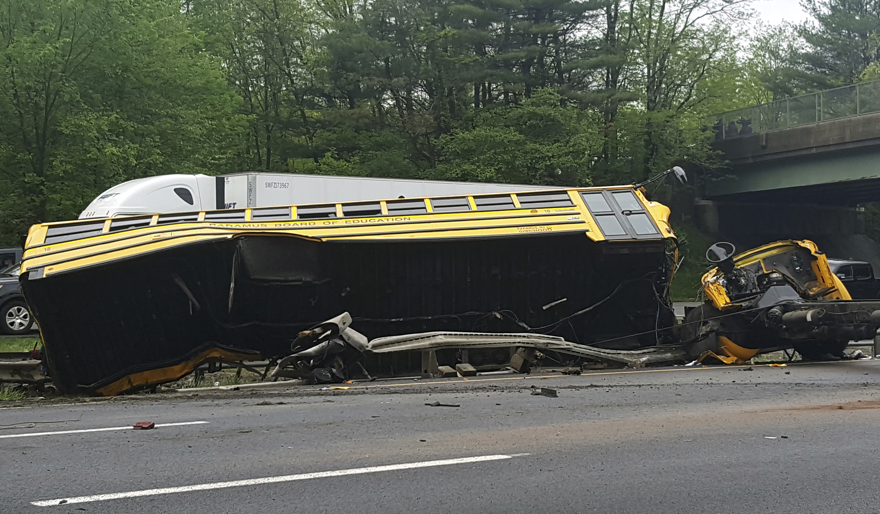 The wrecked school bus in New Jersey
