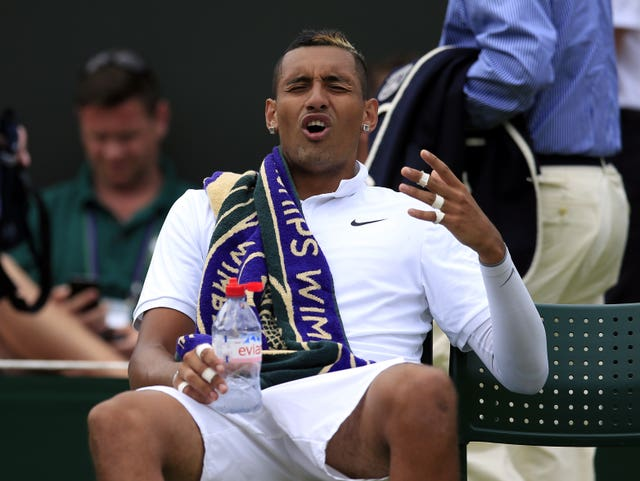 Nick Kyrgios looks angry during his defeat by Richard Gasquet