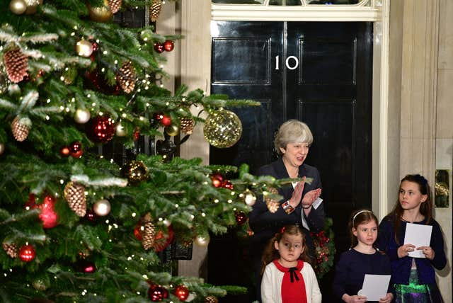 Prime Minister switches on Downing Street Christmas tree lights