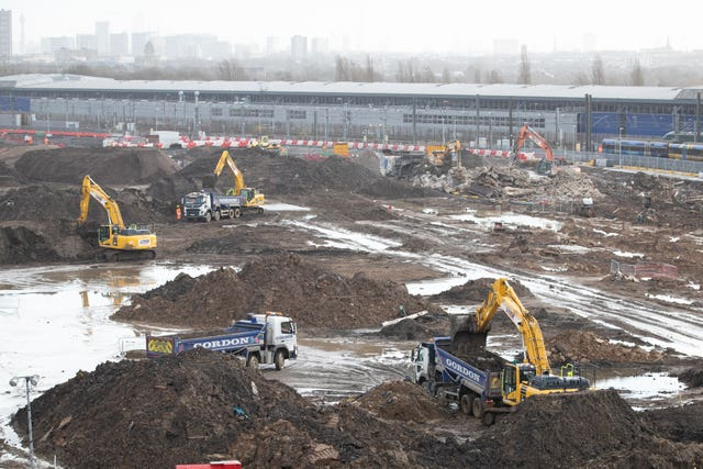 Construction work at Old Oak Common, in west London, where underground platforms for HS2 will link with Crossrail trains