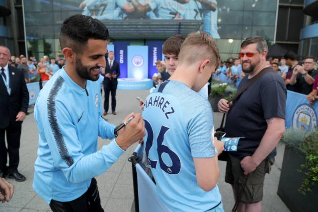 New signing Mahrez has also taken time out to greet City fans