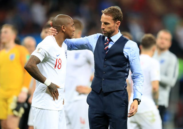 c786f07d99f6b Gareth Southgate consoles Ashley Young after World Cup semi-final defeat.