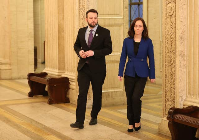 SDLP Leader Colum Eastwood and MLA Nicola Mallon at (Niall Carson/PA)