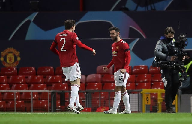 Bruno Fernandes, right, celebrates his first goal