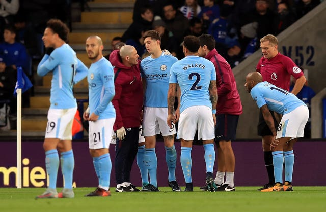 Manchester City defender John Stones suffered an  injury during the Premier League match at Leicester (Mike Egerton/PA Wire)