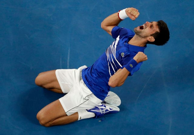 Novak Djokovic celebrates his moment of victory