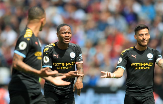 Raheem Sterling reacts as a VAR check disallows what would have been City's third goal