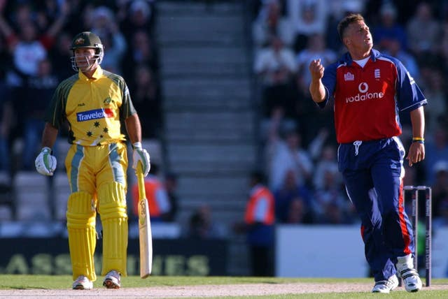 Darren Gough celebrates Michael Hussey's wicket