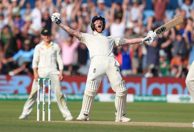 Stokes celebrates hitting the winning runs to level the Ashes series at 1-1