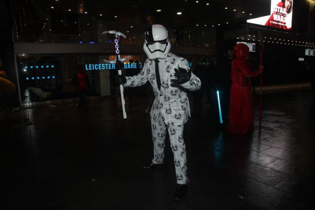 Matthew Johnston from Tottenham, dressed as a First Order stormtrooper executioner, arrives for a screening (Yui Mok/PA)