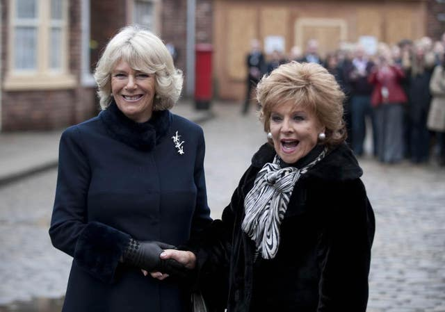 Barbara Knox with the Duchess of Cornwall on the Corrie set