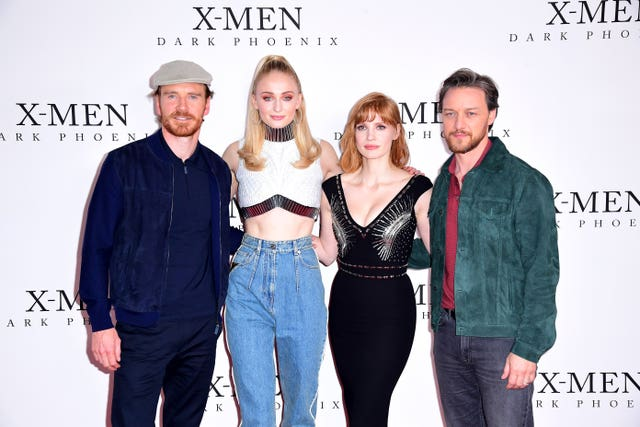 Michael Fassbender (left to right), Sophie Turner, Jessica Chastain and James McAvoy  at the X-Men: Dark Phoenix Photocall – London