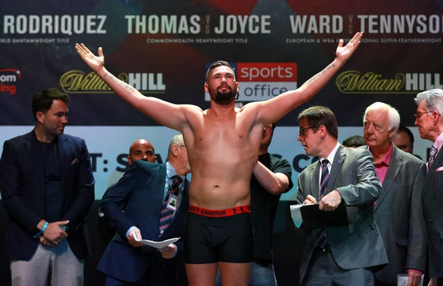 Tony Bellew during the weigh-in at the O2 Arena, London