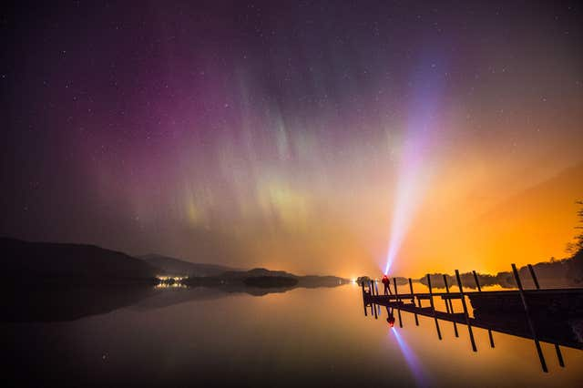 The northern lights over Derwent water, near Keswick, in the Lake District