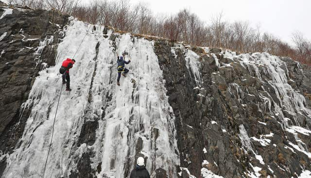 Ice climbing near Tebay in Cumbria (Owen Humphreys/PA)