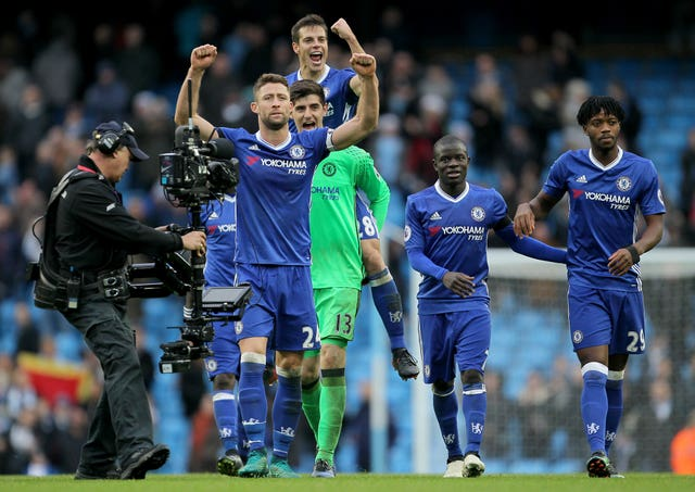 Chelsea celebrate beating Manchester City in the 2016/17 Premier League season