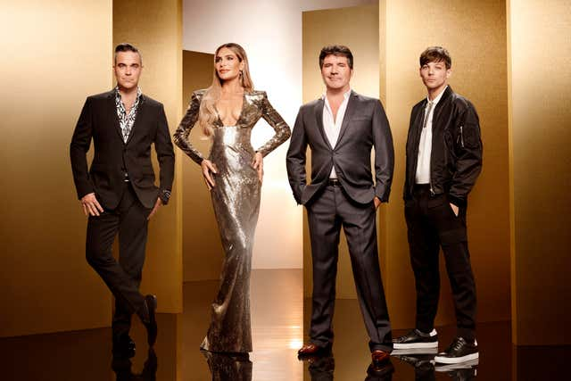 X-Factor judges Robbie Williams, Ayda Field, Simon Cowell and Louis Tomlinso