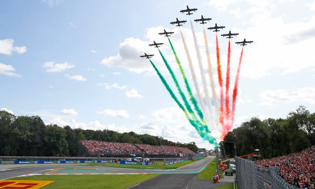 The Frecce Tricolori (Three Colours Arrows) acrobatic squadron performed prior to the race at Monza