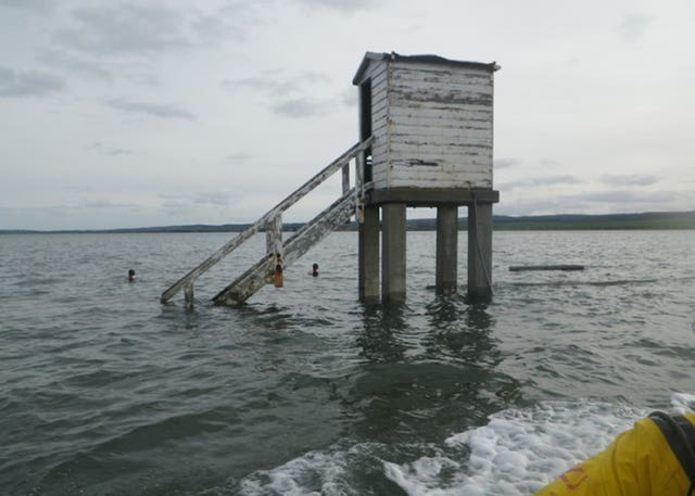 The refuge box on Holy Island causeway where the occupant of a submerged horsebox was found
