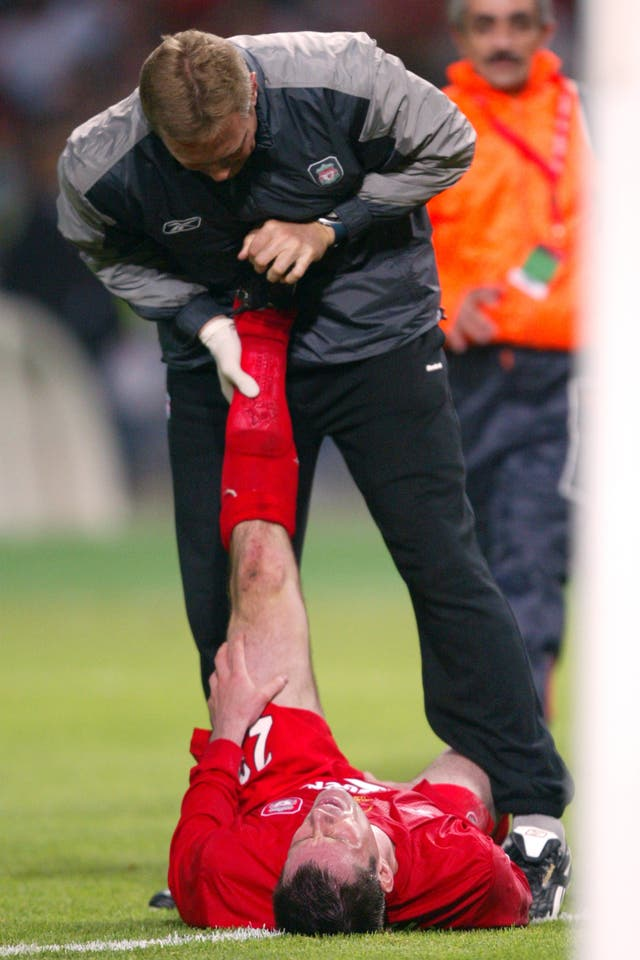 Carragher needed treatment for cramp after a whole-hearted effort in the 2005 final