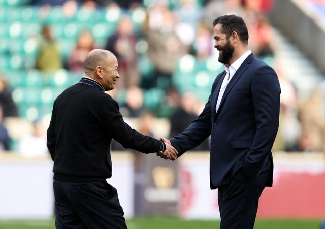 England head coach Eddie Jones (left) will see his side take on Andy Farrell's Ireland on Saturday