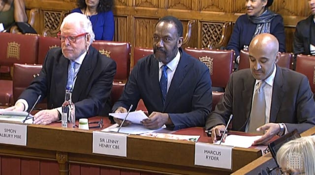 Lenny Henry gives evidence to communications committee