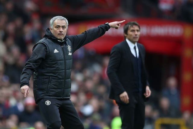 Manchester United boss Jose Mourinho and Chelsea head coach Antonio Conte on the touchline