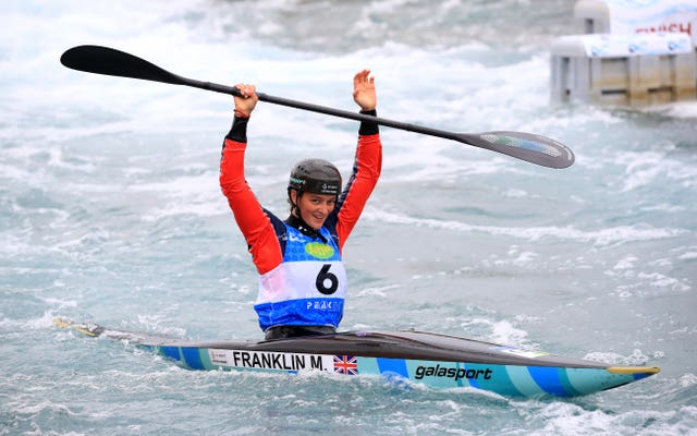 Mallory Franklin after her gold medal winning run at the Canoe Slalom World Cup