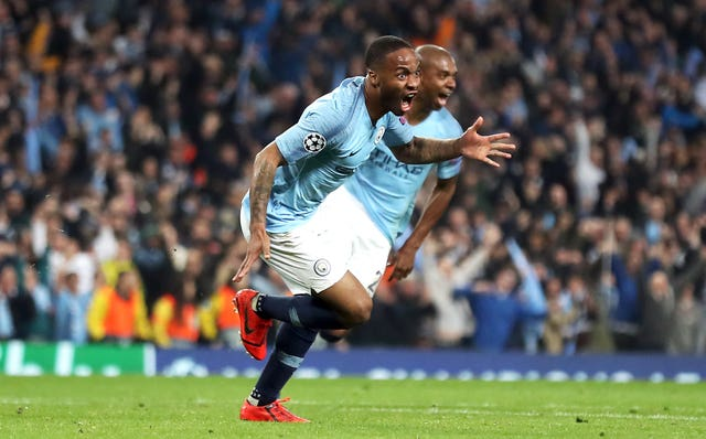 Sterling charges away in celebration, with Pep Guardiola similarly jubilant on the touchline until it becomes apparent that the goal is under VAR review