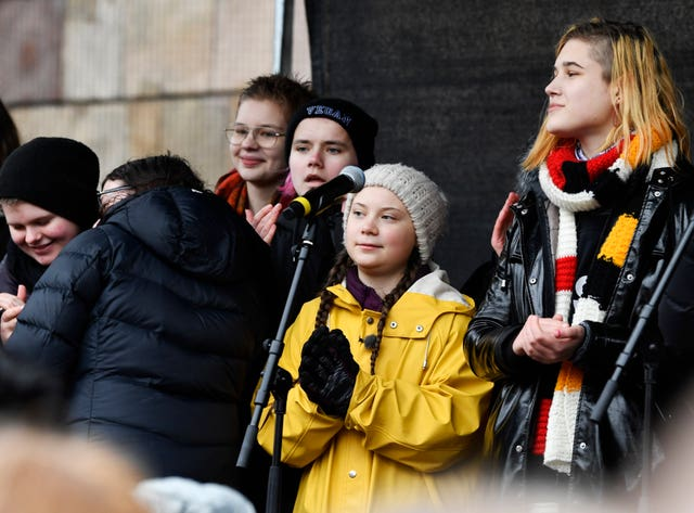 Greta Thunberg speaks at a rally in central Stockholm