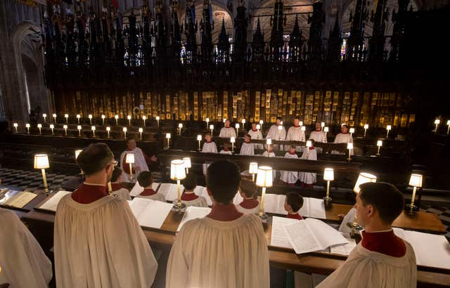 The St George's Chapel choir held a rehearsal ahead of the big day (Steve Parsons/PA)