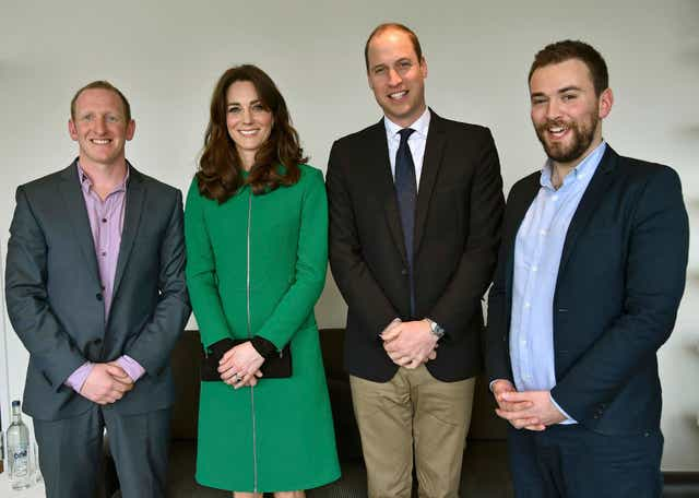 The Duke and Duchess of Cambridge with Jonny Benjamin (right), and Neil Laybourn, the passer-by who saved him from jumping off Waterloo Bridge (Toby Melville/PA)