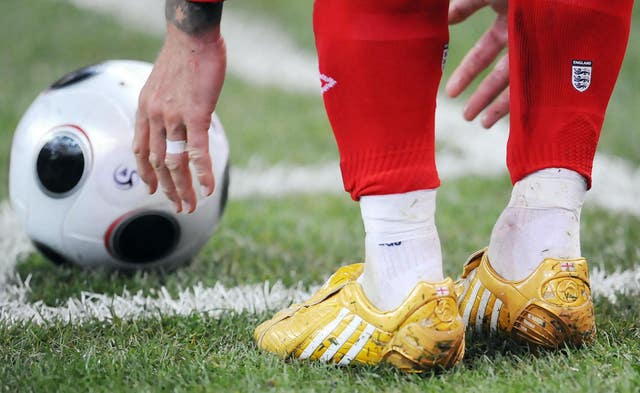 Beckham wore gold boots to commemorate his 100th England cap